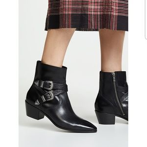 Frye Ellen Black Leather Buckle Short Boot 10